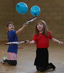 Primary four pupil Evie McKenna(right) alongside classmates at Dunblane Primary as they take part in the schools Miss-hits Tennis club in Andy Murray's home town, he has said he is aiming to end his career after Wimbledon but the Australian Open may be his last tournament.