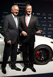 14.11.2011, Hotel Grand Tirolia, Kitzbuehel, AUT, Verleihung Laureus Medienpreis 2011, Roter Teppich im Bild Dr. Joachim Schmidt, Leiter Mercedes-Benz Cars Vertrieb und Marketing mit Ski Legende Franz Klammer // at the red carpet of the Laureus Media Award 2011 at the Grand Hotel Tirolia in Kitzbuehel, Austria on 14/11/2011. EXPA Pictures © 2011, PhotoCredit: EXPA/ Johann Groder