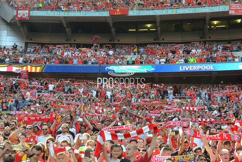 """Liverpool fans sing """"You'll Never Walk Alone"""" during the International Champions Cup between Liverpool FC and FC Barcelona at Wembley Stadium, London, England on 6 August 2016. Photo by Mark Davies."""
