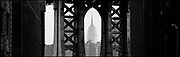 Manhattan Bridge and Empire State Building, New York City, New York, USA, May 1998