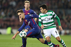December 5, 2017 - Barcelona, Catalonia, Spain - DENIS SUAREZ of FC Barcelona duels for the ball with MARCOS ACUNA of Sporting CP during the UEFA Champions League, Group D football match between FC Barcelona and Sporting CP on December 5, 2017 at Camp Nou stadium in Barcelona, Spain. (Credit Image: © Manuel Blondeau via ZUMA Wire)