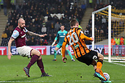 Hull City forward Jarrod Bowen (20) attacking  during the EFL Sky Bet Championship match between Hull City and Aston Villa at the KCOM Stadium, Kingston upon Hull, England on 31 March 2018. Picture by Mick Atkins.
