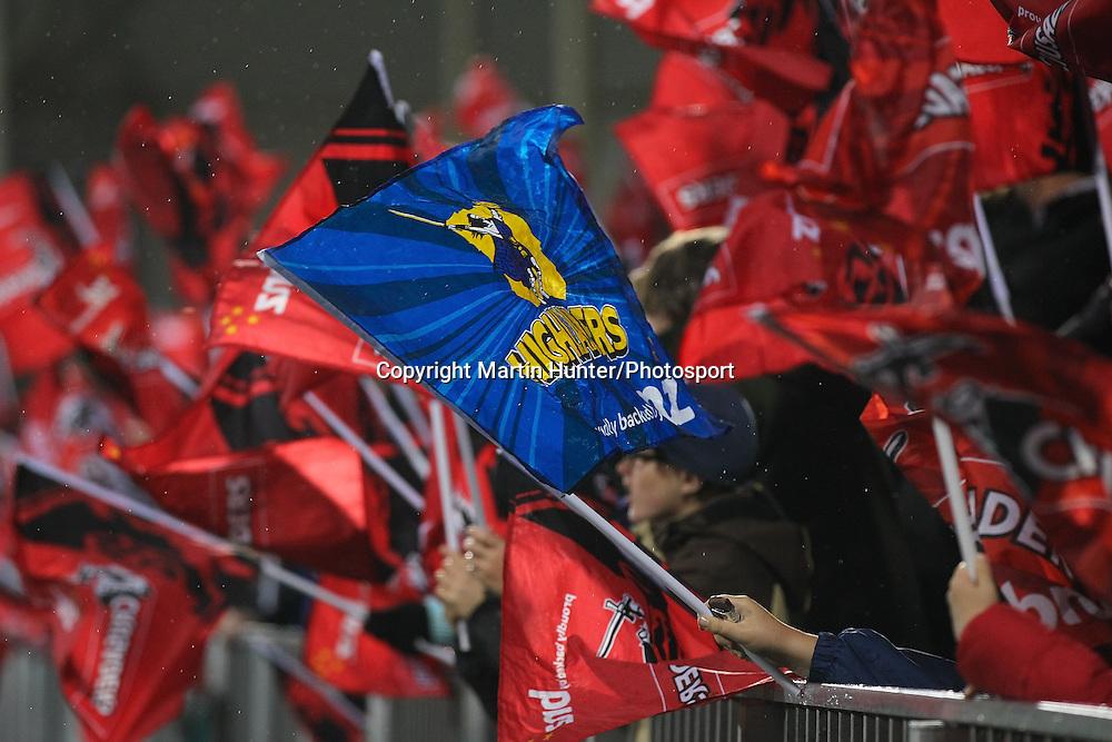 Highlanders flag during the 2013 Investec Super 15 Rugby. Crusaders vs. Highlanders at AMI Stadium, Christchurch, Saturday 20 April 2013. Photo: Martin Hunter / Photosport.co.nz<br /> Credit: