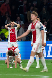 08-05-2019 NED: Semi Final Champions League AFC Ajax - Tottenham Hotspur, Amsterdam<br /> After a dramatic ending, Ajax has not been able to reach the final of the Champions League. In the final second Tottenham Hotspur scored 3-2 / Joel Veltman #3 of Ajax, Daley Blind #17 of Ajax, Matthijs de Ligt #4 of Ajax