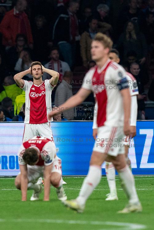 08-05-2019 NED: Semi Final Champions League AFC Ajax - Tottenham Hotspur, Amsterdam<br /> After a dramatic ending, Ajax has not been able to reach the final of the Champions League. In the final second Tottenham Hotspur scored 3-2 / Joel Veltman #3 of Ajax, Daley Blind #17 of Ajax, Matthijs de Ligt #4 of Ajax