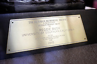 16 August 2006:  Reggie Bush's 2005 Heisman Trophy plaque up close detail on campus at Heritage Hall. USC Trojans Pac-10 college football team summer practice at Howard Jones Field on campus in Los Angeles, CA.