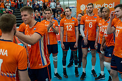09-06-2019 NED: Golden League Netherlands - Spain, Koog aan de Zaan<br /> Fourth match poule B - The Dutch beat Spain again in five sets in the European Golden League / Thijs Ter Horst #4 of Netherlands, Sjoerd Hoogendoorn #23 of Netherlands, Tim Smit #12 of Netherlands, Luuc van der Ent #6 of Netherlands, Nimir Abdelaziz #14 of Netherlands