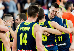 Aleksej Nikolic of Slovenia and Vlatko Cancar of Slovenia  celebrate after winning during basketball match between National Teams of Slovenia and Spain at Day 15 in Semifinal of the FIBA EuroBasket 2017 at Sinan Erdem Dome in Istanbul, Turkey on September 14, 2017. Photo by Vid Ponikvar / Sportida