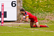 London Broncos centre Elliot Kear (1) scoring a try during the Betfred Championship match between Halifax RLFC and London Broncos at the MBi Shay Stadium, Halifax, United Kingdom on 8 April 2018. Picture by Simon Davies.