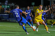 AFC Wimbledon defender Luke O'Neill (2) scoring goal  during the EFL Cup match between AFC Wimbledon and Milton Keynes Dons at the Cherry Red Records Stadium, Kingston, England on 13 August 2019.