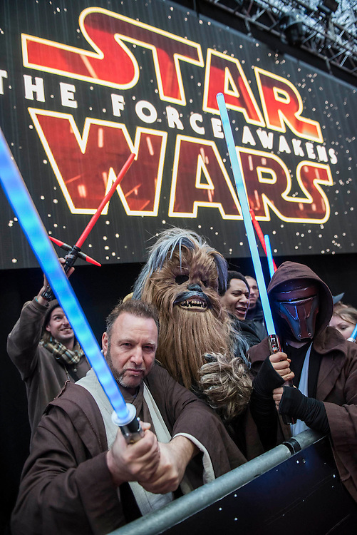 Light sabres are everywhere - The European Premiere of STAR WARS: THE FORCE AWAKENS - Odeon, Empire and Vue Cinemas, Leicester Square, London.
