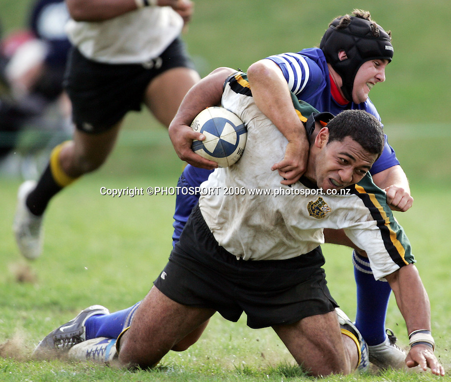 Grammar Carlton centre John Vahai scores during Round 1 of the Auckland Premier 1 Club rugby  game between Grammar Carlton and University at Colin Maiden Park, Auckland on Saturday 1 April 2006. Grammar Carlton won the match 22-17. Photo: Tim Hales/PHOTOSPORT