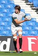 Lodewyk De Jager plays a pass along the line during the South Africa Captain's Run training session in preparation for the Rugby World Cup at the American Express Community Stadium, Brighton and Hove, England on 18 September 2015.