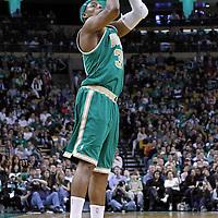 09 March 2012: Boston Celtics small forward Paul Pierce (34) takes a jumpshot during the Boston Celtics 104-86 victory over the Portland Trail Blazers at the TD Banknorth Garden, Boston, Massachusetts, USA.