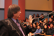 National Medal of Science Winner and Rice University professor Richard Tapia speaks with 100 HISD high school students in the  EMERGE Fellowship program.