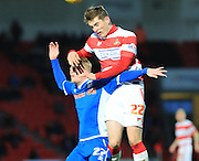 Andy Cannon, Conor Grant during the Sky Bet League 1 match between Doncaster Rovers and Rochdale at the Keepmoat Stadium, Doncaster, England on 21 November 2015. Photo by Daniel Youngs.