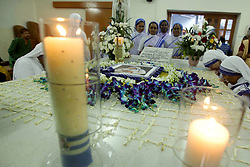 September 5, 2017 - Kolkata, West Bengal, India - Roman Catholic priests, nuns of the Missionaries of Charity order and devotees attend a service to commemorate the 20th death anniversary of Mother Teresa alongside her tomb at the Missionaries of Charity house on September 5, 2017 in Kolkata. (Credit Image: © Saikat Paul/Pacific Press via ZUMA Wire)