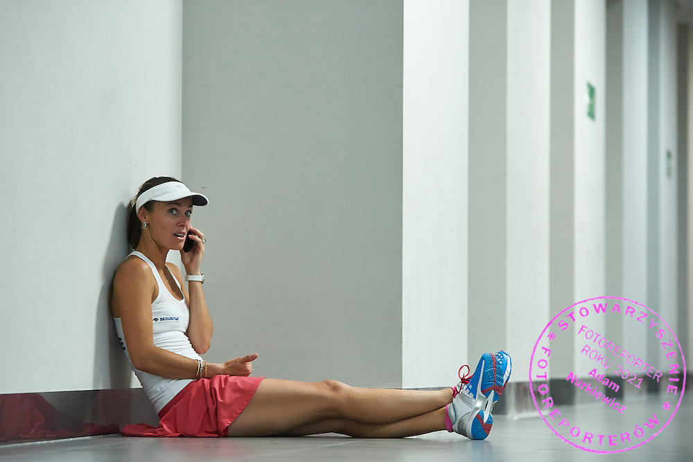 Martina Hingis from Switzerland rests after her lost game during the Fed Cup / World Group Play Off tennis match between Poland and Switzerland on April 18, 2015 in Zielona Gora, Poland<br /> Poland, Zielona Gora, April 18, 2015<br /> <br /> Picture also available in RAW (NEF) or TIFF format on special request.<br /> <br /> For editorial use only. Any commercial or promotional use requires permission.<br /> <br /> Adam Nurkiewicz declares that he has no rights to the image of people at the photographs of his authorship.<br /> <br /> Mandatory credit:<br /> Photo by &copy; Adam Nurkiewicz / Mediasport