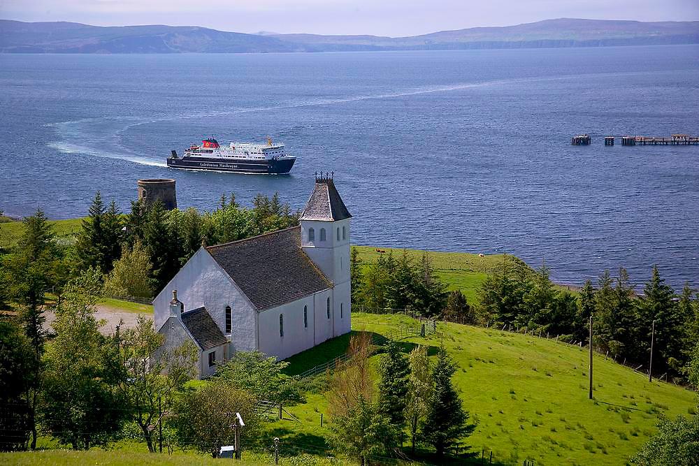 The M.V.Hebrides arrives in Uig Bay, isle of Skye.