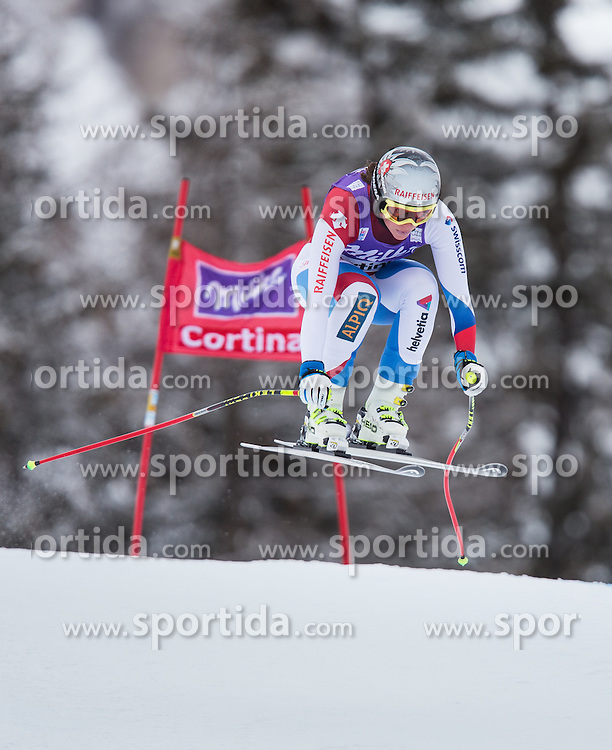 24.01.2014, Olympia delle Tofane, Cortina d Ampezzo, ITA, FIS Weltcup Ski Alpin, Abfahrt, Damen, im Bild M. Kaufmann Abderhalden (SUI) // M. Kaufmann Abderhalden of Switzerland in action during the ladies Downhill of the Cortina FIS Ski Alpine World Cup at the Olympia delle Tofane course in Cortina d Ampezzo, Italy on 2014/01/24. EXPA Pictures © 2014, PhotoCredit: EXPA/ Johann Groder