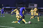 Sutton United Bradley Hudson-Odoi (7) tackles AFC Wimbledon defender & captain Barry Fuller (2)  during The FA Cup match between Sutton United and AFC Wimbledon at Gander Green Lane, Sutton, United Kingdom on 7 January 2017. Photo by Stuart Butcher.