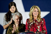 Wendy Davis speaks to supporters after conceding the governors race to Greg Abbott in Fort Worth, Texas on November 4, 2014.  (Cooper Neill for The Texas Tribune)