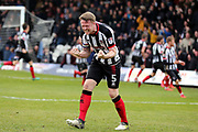 Grimsby Town midfielder James Bennett (7) scores a goal 1-1 and Grimsby Town defender Nathan Clarke (5) and celebrates during the EFL Sky Bet League 2 match between Grimsby Town FC and Port Vale at Blundell Park, Grimsby, United Kingdom on 10 March 2018. Picture by Mick Atkins.