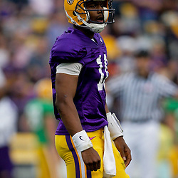 18 April 2009: LSU quarterback Russell Shepard (10) looks to the sideline for a play during the 2009 LSU spring football game at Tiger Stadium in Baton Rouge, LA.