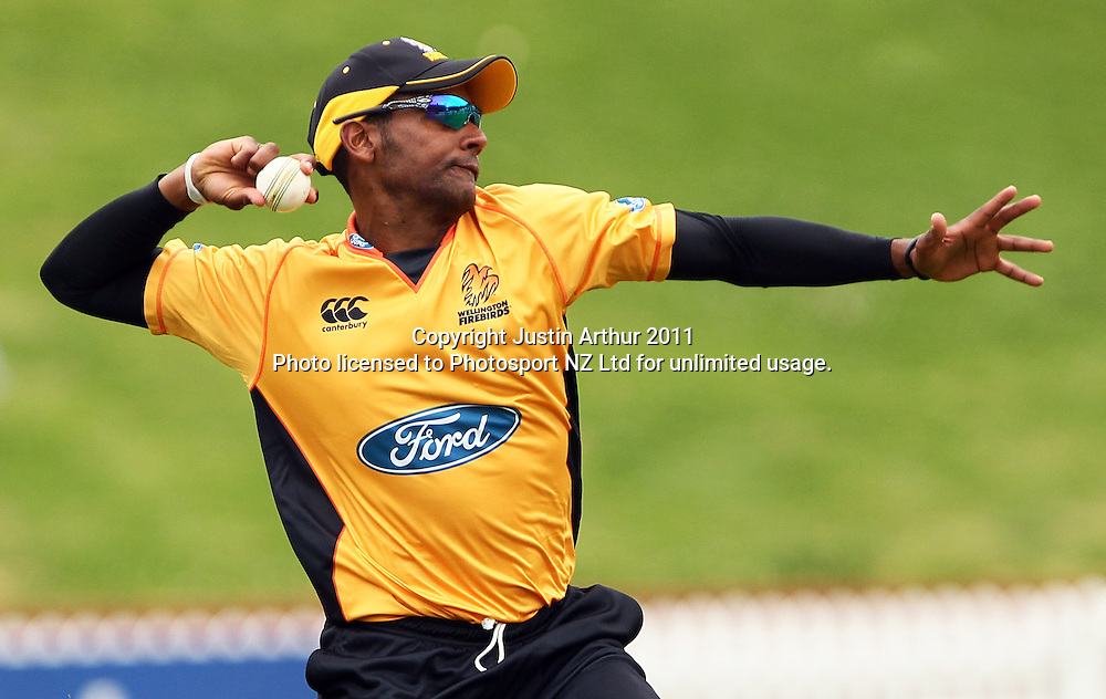 Barry Rhodes in  action. Ford Trophy - Wellington Firebirds v Otago Volts, Hawkins Basin Reserve, Sunday 4 December 2011. Photo: Justin Arthur / Photosport.co.nz