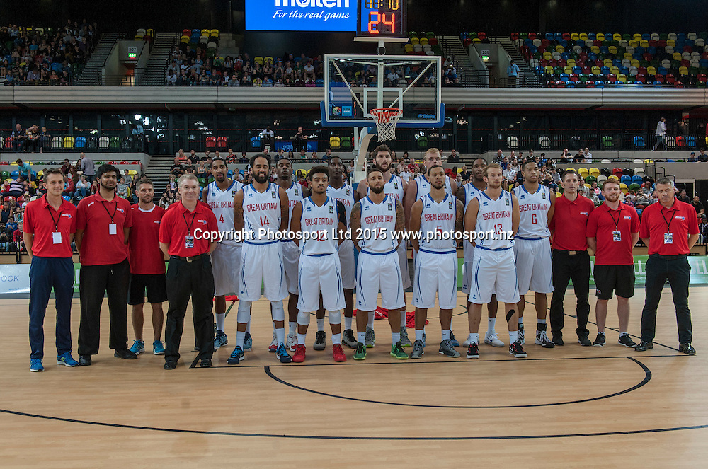 25.07.2015. London England. Basketball test match. Great Britain versus New Zealand.  Team Great Britain players and Coaching Staff.