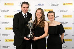 Lauren Hemp and sponsors pose with the PFA Young Female Player Of The Year Award Trophy during the 2018 PFA Awards at the Grosvenor House Hotel, London