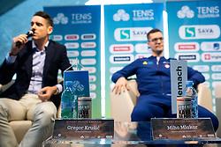Press conference of Slovenian Tennis Men Team before Davis Cup against Pakistan, on February 27, 2020 in Kristalna palaca, Ljubljana, Slovenia. Photo by Vid Ponikvar / Sportida