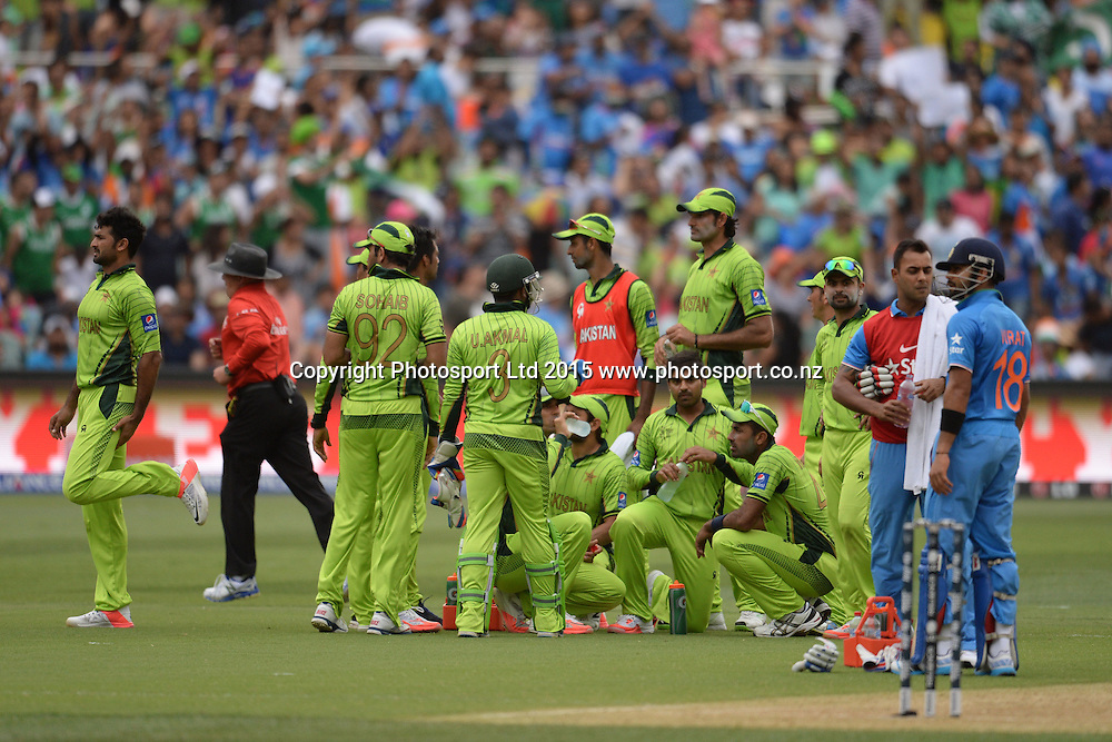 Pakistan players celebrate Shikhar Dhawan's wicket during the ICC Cricket World Cup match between India and Pakistan at Adelaide Oval in Adelaide, Australia. Sunday 15 February 2015. Copyright Photo: Raghavan Venugopal / www.photosport.co.nz