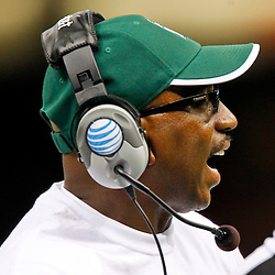 September 22, 2012; New Orleans, LA, USA; Tulane Green Wave head coach Curtis Johnson during the second half of a game against the Ole Miss Rebels at the Mercedes-Benz Superdome. Ole Miss defeated Tulane 39-0. Mandatory Credit: Derick E. Hingle-US PRESSWIRE