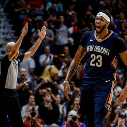 Oct 20, 2017; New Orleans, LA, USA; New Orleans Pelicans forward Anthony Davis (23) reacts after hitting a three point basket at the end of the first quarter of a game against the Golden State Warriors at the Smoothie King Center. Mandatory Credit: Derick E. Hingle-USA TODAY Sports