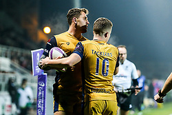 Bristol Rugby celebrate with tryscorer Jack Wallace - Rogan Thomson/JMP - 16/12/2016 - RUGBY UNION - Stade du Hameau - Pau, France - Pau v Bristol Rugby - EPCR Challenge Cup.