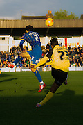 Action during the Sky Bet League 2 match between AFC Wimbledon and Dagenham and Redbridge at the Cherry Red Records Stadium, Kingston, England on 15 November 2014.