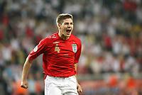 Photo: Chris Ratcliffe.<br /> Sweden v England. FIFA World Cup 2006. 20/06/2006.<br /> Steven Gerrard of England celebrates.