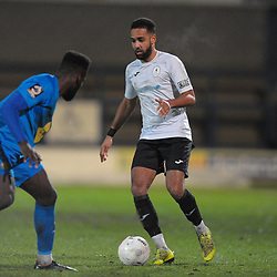 TELFORD COPYRIGHT MIKE SHERIDAN Brendan Daniels of Telford during the FA Trophy Round 1 fixture between AFC Telford United and Leamington at the New Bucks head Stadium on Tuesday, December 17, 2019.<br />
