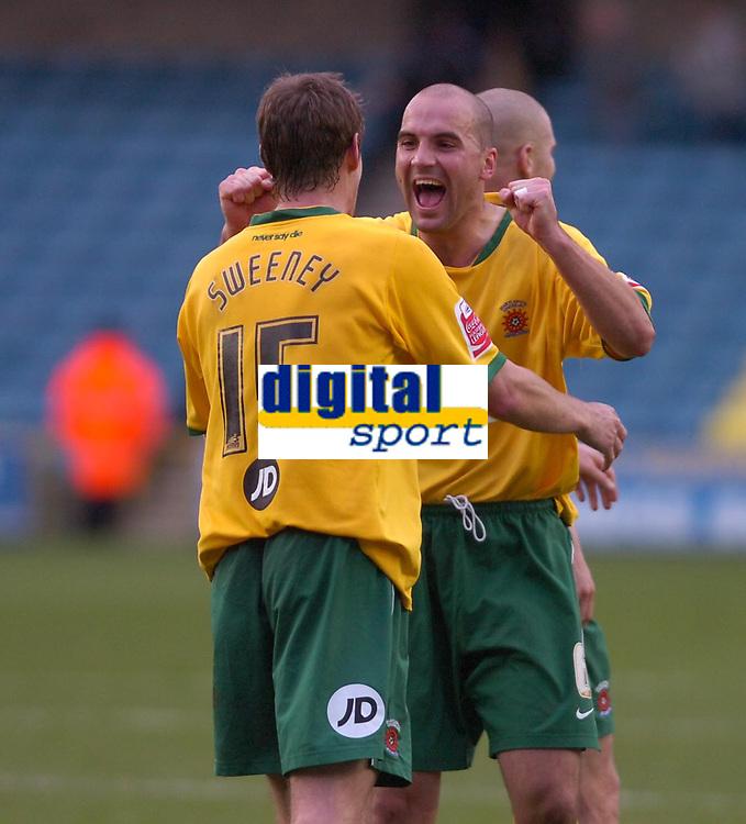 Photo: Matt Bright/Sportsbeat Images.<br /> Millwall v Hartlepool United. Coca Cola League 1. 03/11/2007.<br /> Antony Sweeney & Ben Clarke of Hartlepool celebrate the win
