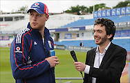 Andrew Freddie Flintoff is interviewed by Simon Briggs of The Daily Telegraph at Headingley on the 16th of July 2008..England v South Africa.Photo by Philip Brown.www.philipbrownphotos.com