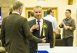 The count for the UK Parliamentary General Election 2017 for the Perth & North Perthshire Constituency takes place at Bell's Sports Centre in Perth.<br /> <br /> The four candidates standing for the seat are Peter Barrett (Scottish Liberal Democrats), Ian Duncan (Scottish Conservatives), David Roemmele (Scottish Labour) and Pete Wishart (SNP)<br /> <br /> Pictured: Pete Wishart of the SNP nervously awaiting the results of the count at Perth & North Perthshire