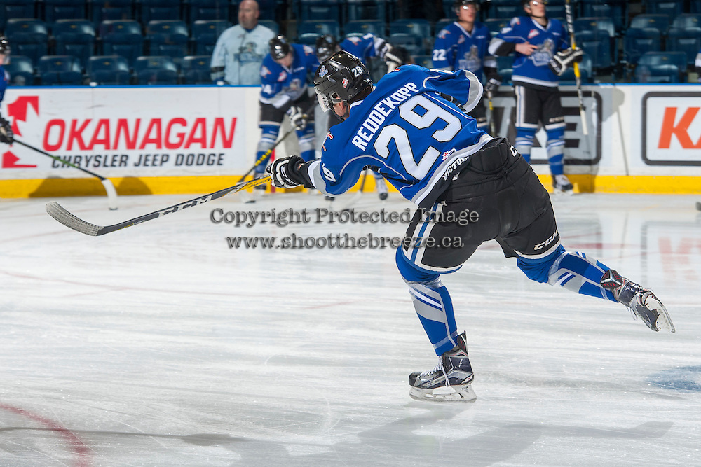 KELOWNA, CANADA - DECEMBER 30: Chaz Reddekopp #29 of the Victoria Royals warms up with a shot on net against the Kelowna Rockets on December 30, 2016 at Prospera Place in Kelowna, British Columbia, Canada.  (Photo by Marissa Baecker/Shoot the Breeze)  *** Local Caption ***
