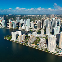 Aerial view of Brickell Key, downtown Miami waterfront.
