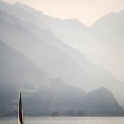Sailboat at sunset on the Brienzersee, Brienz, Switzerland<br />