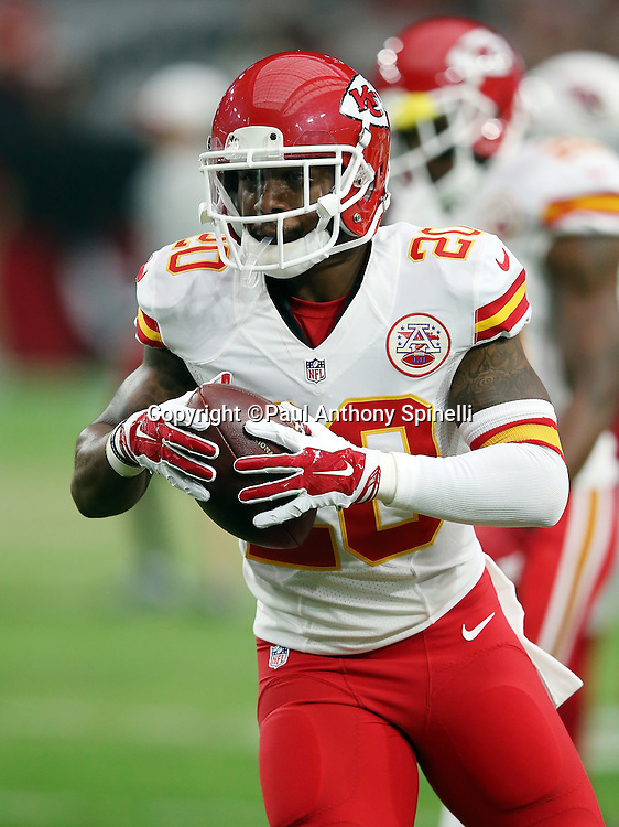 Kansas City Chiefs cornerback Steven Nelson (20) runs with the ball during the 2015 NFL preseason football game against the Arizona Cardinals on Saturday, Aug. 15, 2015 in Glendale, Ariz. The Chiefs won the game 34-19. (©Paul Anthony Spinelli)