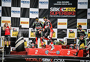 Jul 19 2015 Salinas, CA U.S.A. The winners podium First place Chaz Davies, Second place Tom Sykes and Third place Jonathan Rea celebrate after the eni FIM Superbike World Championship Laguna Sega Salinas, CA  Thurman James / CSM