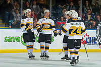 KELOWNA, CANADA - NOVEMBER 3:  Luka Burzan #27 of the Brandon Wheat Kings celebrates a goal with teammates against the Kelowna Rockets on November 3, 2018 at Prospera Place in Kelowna, British Columbia, Canada.  (Photo by Marissa Baecker/Shoot the Breeze)