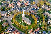 Nederland, Friesland, gemeente S&uacute;dwest-Frysl&acirc;n, 04-11-2018; terpdorp Rauwerd (Fries: Raerd), met Laurentiuskerk.<br /> Frisian village Rauwerd. <br /> luchtfoto (toeslag op standaard tarieven);<br /> aerial photo (additional fee required);<br /> copyright &copy; foto/photo Siebe Swart