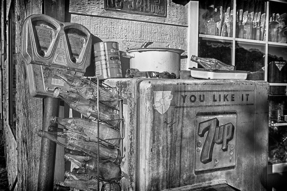 General Store 7up Bottle Dispenser - Eldorado Canyon - Nelson NV - HDR - Black & White